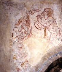 Bledlow Parish Church mediaeval wall painting of Adam and Eve
